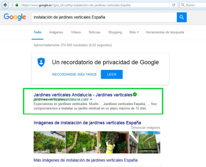 web SEO marbella for ACER with jardinesverticalesandalucia.com